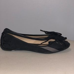 24 HOUR SALE! Coach Black and Silver Flats